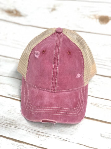 Distressed Burgundy CC Messy Bun Ponytail Hat