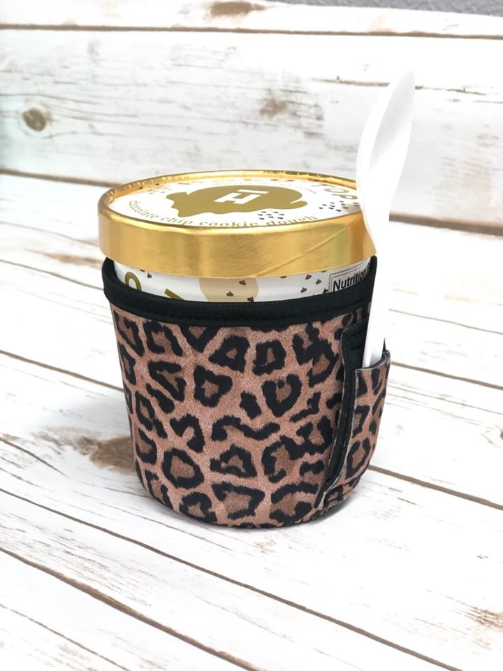 leopard ice cream pint holder koozie