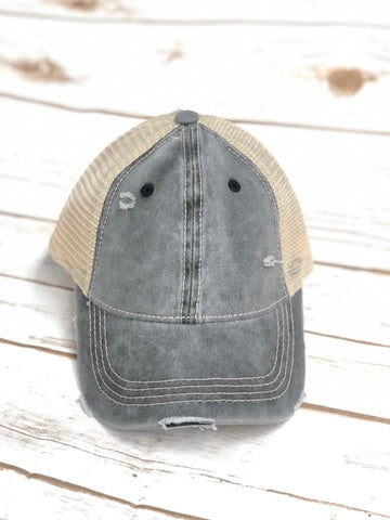 Distressed Gray CC Messy Bun Ponytail Hat