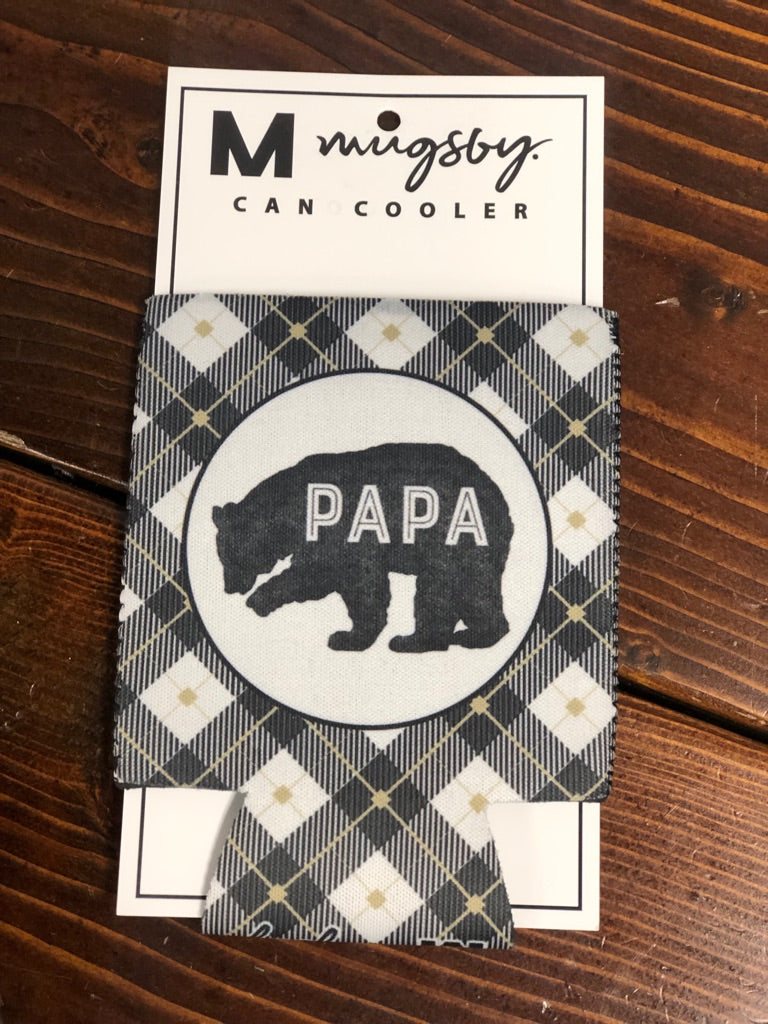 Papa Bear Plaid Can Cooler