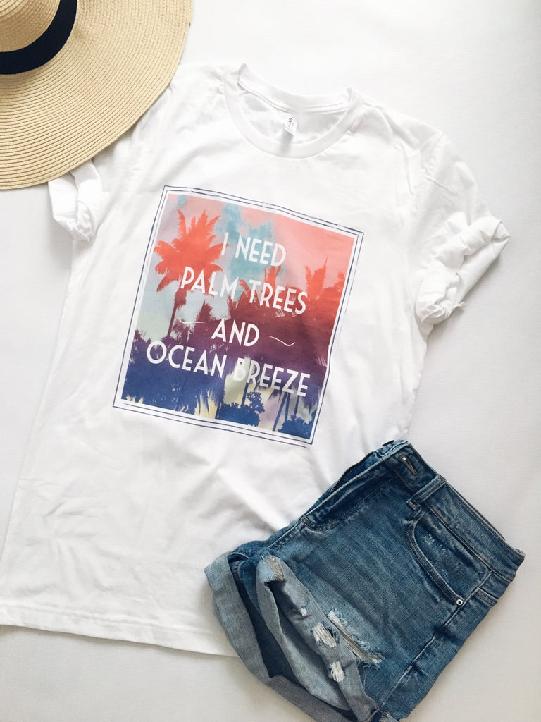 Palm Trees & Ocean Breeze Graphic Tee