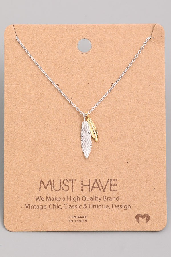 2Tone Dainty Feathers Necklace