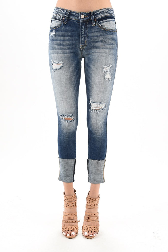 KanCan Destroyed Wide Cuff Skinny Jeans