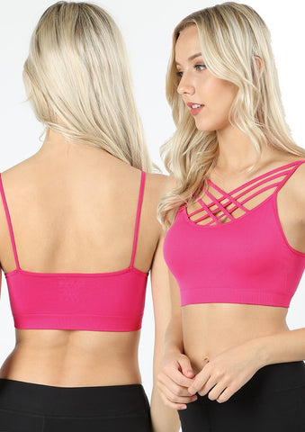 Hot Pink Strappy Seamless Padded Bralette