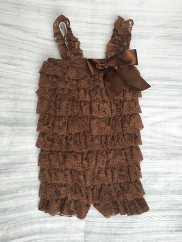 Brown Lace Ruffle Romper