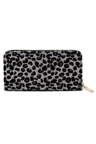 Gray Black Leopard Faux Fur Zip Wallet