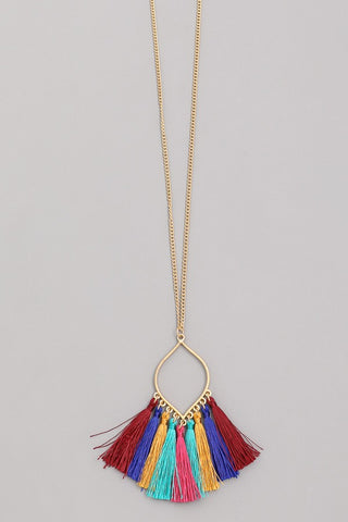 Vibrant Color Tassel Necklace
