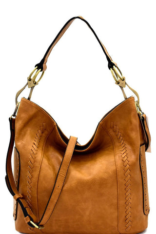 Tan Whipstitch Pocket 2Way Hobo Bag