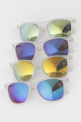 Clear Frame Mirrored Miley Sunglasses
