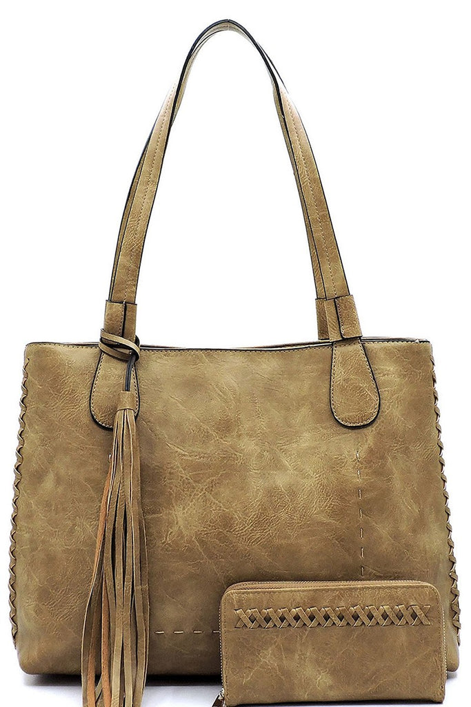 taupe whipstitch tote with wallet