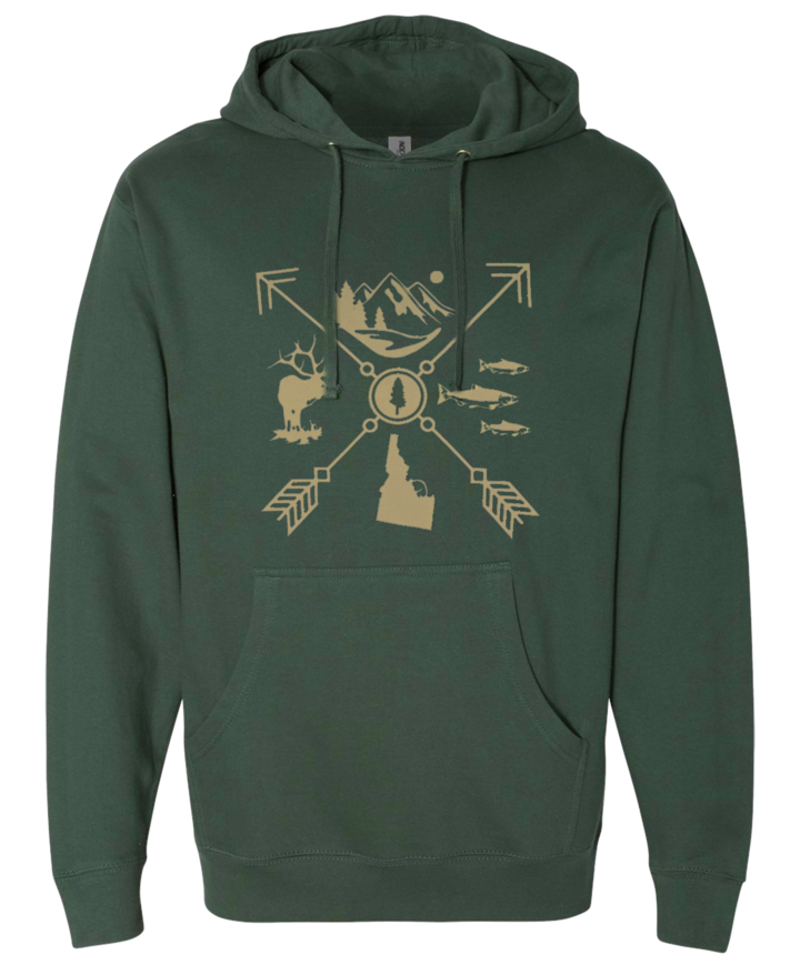 Idaho Arrow Unisex Hoodie - Green