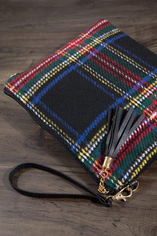 Black Plaid Flannel Crossbody Bag