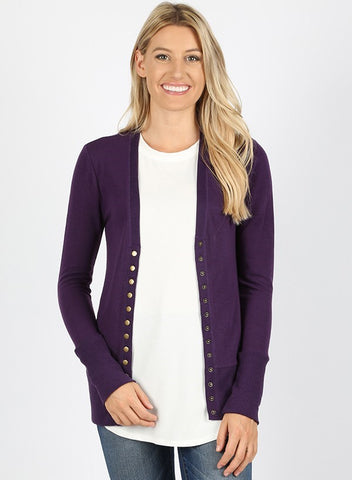 Dark Purple Snap Front Cardigan