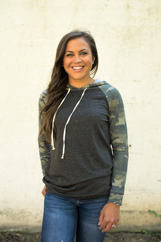 Charcoal & Camo Elbow Patch Hoodie (SM-3X)