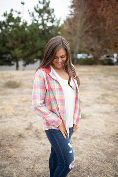 Pink Plaid Button Up Hooded Flannel (SM-2X)
