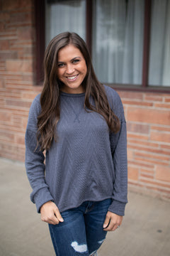 Ash Gray Cable Knit Slouchy LS Top (SM-XL)