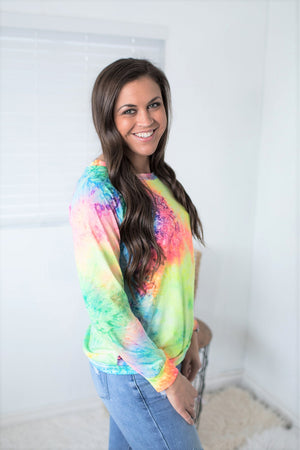 Bright Watercolor Tie Dye Pullover (SM-XL)