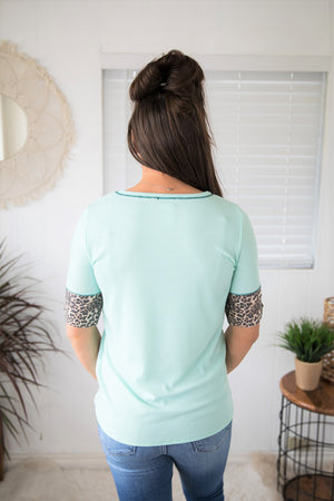 Mint Ribbed Leopard Sleeve SS Top (SM-XL)
