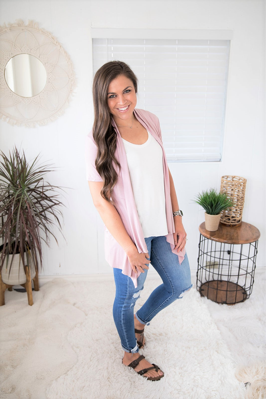 Lt Mauve Short Sleeve Waterfall Pocket Cardigan (SM-XL)