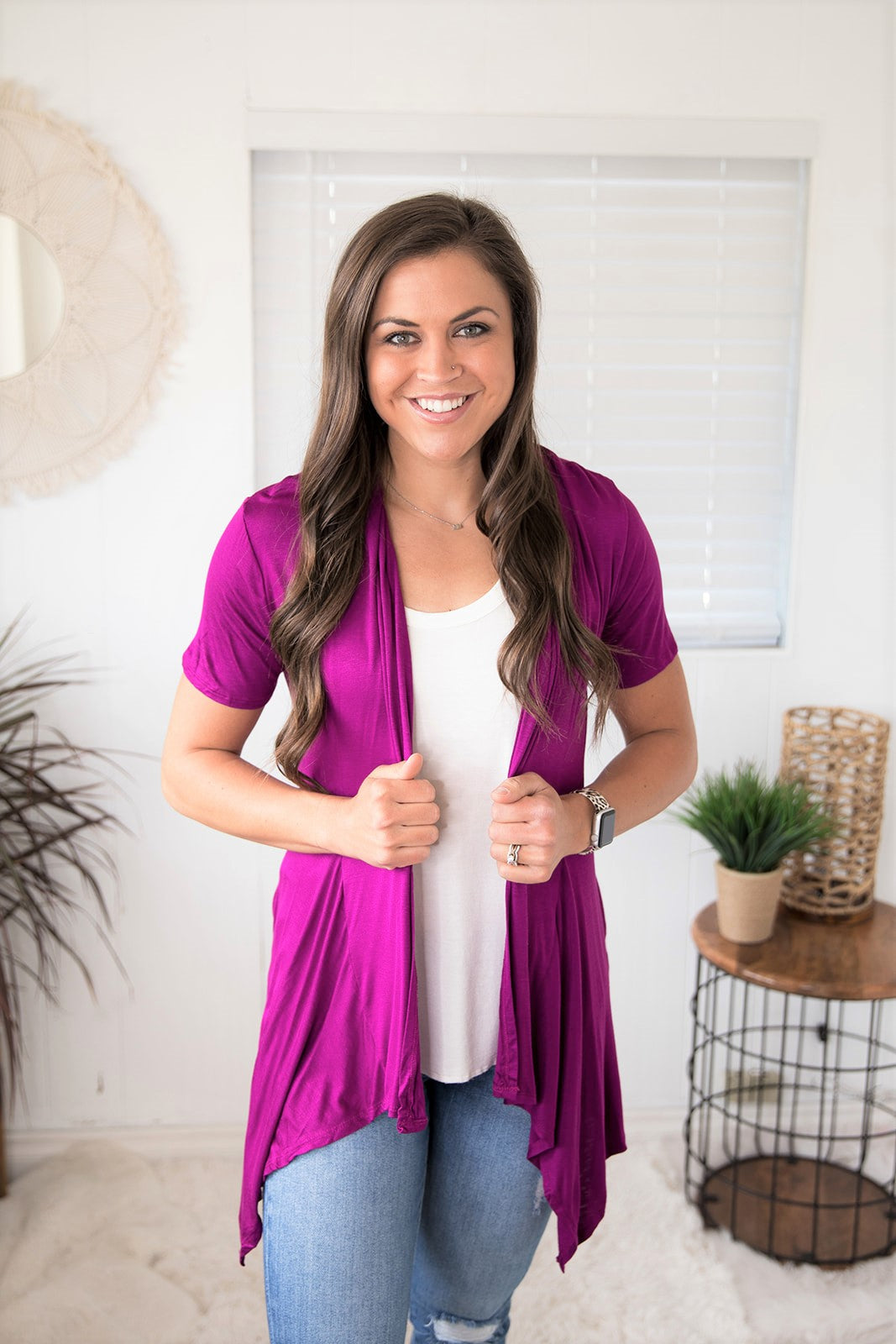 Bt Purple Short Sleeve Waterfall Pocket Cardigan (SM-XL)