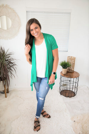 Emerald Green Short Sleeve Waterfall Pocket Cardigan (SM-XL)