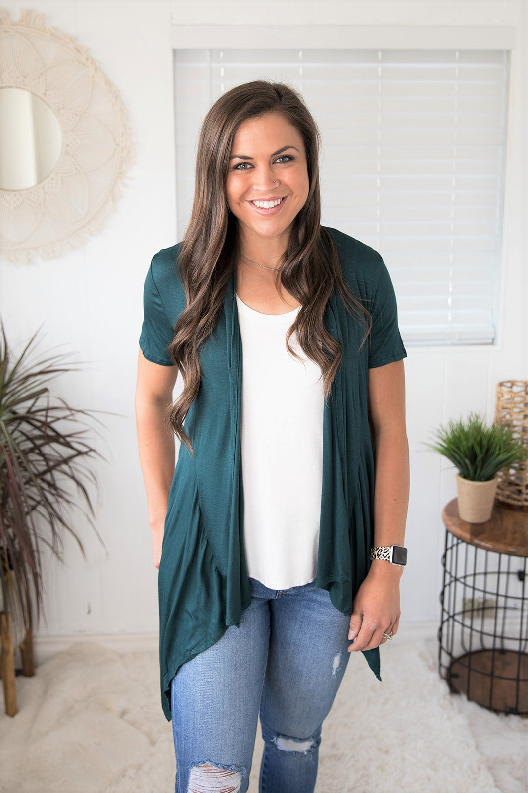 Dk Teal Short Sleeve Waterfall Pocket Cardigan (SM-XL)