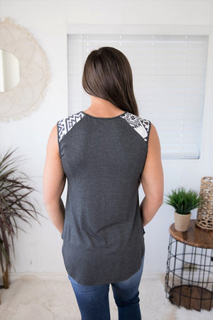 Charcoal Aztec Pocket Muscle Tank (SM-XL)