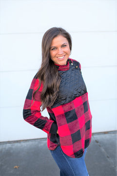 Buffalo Plaid Fleece Quilted Snap Pullover (SM-2X)