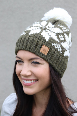 Olive Snowflake Lined Pom Beanie