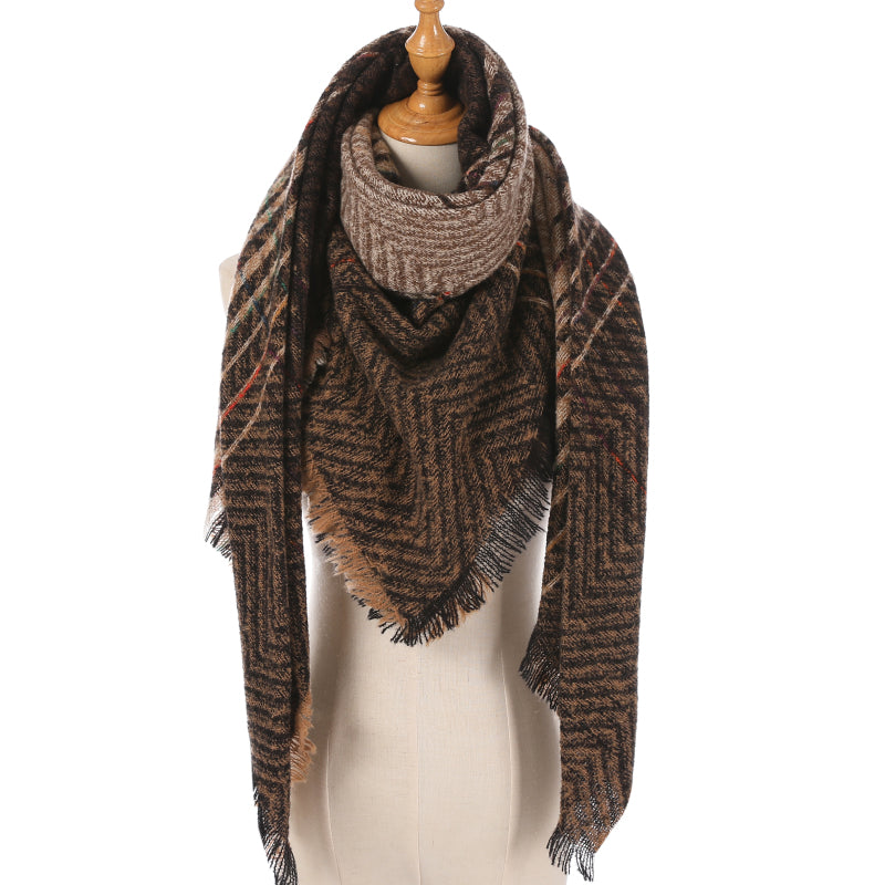 Brown Chevron Color Stripe Plaid Triangle Blanket Scarf
