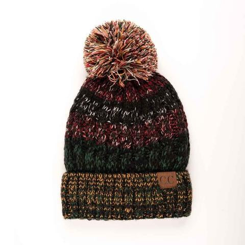Multi Colored Fur Lined Pom CC Beanie - 4 Colors