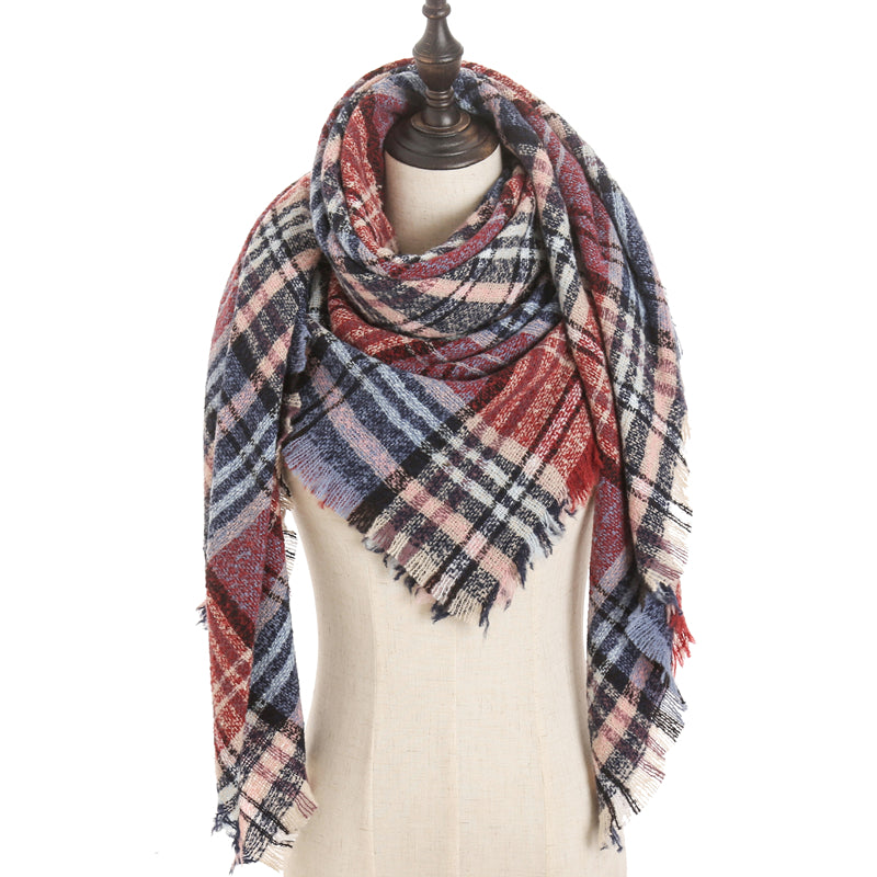 Blue Brick Pink Plaid Triangle Blanket Scarf
