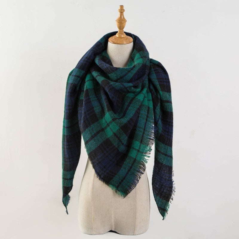 Blue & Green Plaid Triangle Blanket Scarf