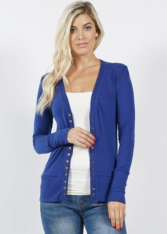 Mid Navy Snap Front Cardigan