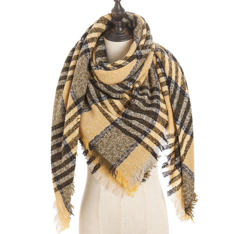 Mustard Olive Navy Black Plaid Triangle Blanket Scarf