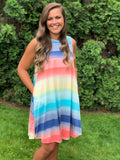 Spring Ombre Pocket Tank Dress