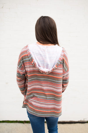 Rust & Teal Striped Hooded Pullover Sweater