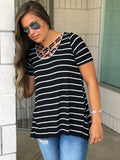 Black & White Striped Strappy Tee - SM-3XL