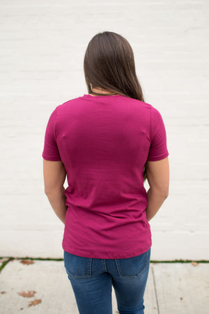 Berry Pink Basic Cotton Crew Neck Tee (SM-3XL)