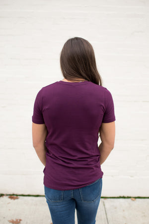 Dk Plum Basic Cotton Crew Neck Tee