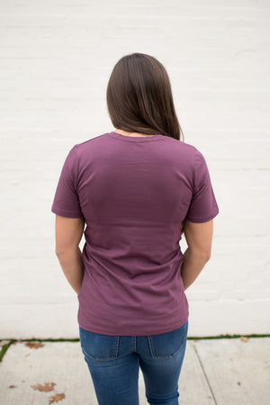 Eggplant Purple Basic Cotton Crew Neck Tee
