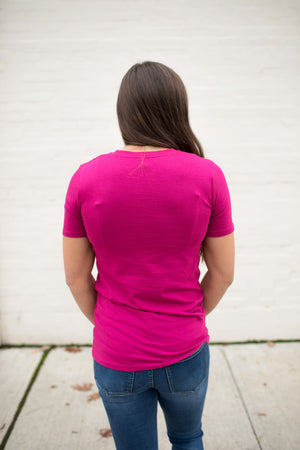 Magenta Pink Basic Cotton Crew Neck Tee (SM-3XL)