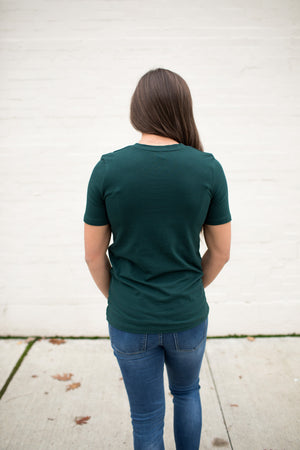 Hunter Green Basic Cotton Crew Neck Tee (SM-XL)