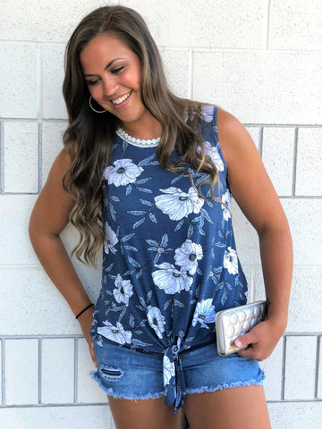 Blue & White Floral Knot Tank