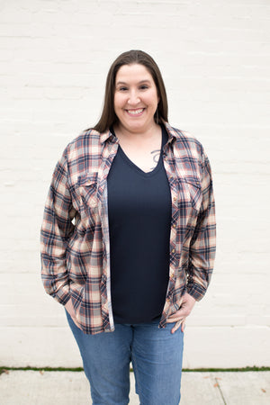 Navy Taupe Burgundy Plaid Roll Up Sleeve Button Up Top (SM-3XL)