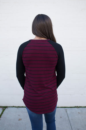 Burgundy Black Striped Raglan Sweater (SM-XL)
