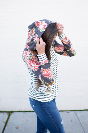 Gray Floral & Stripes Elbow Patch Hoodie (SM-3X)