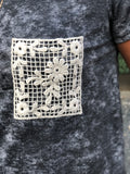 Charcoal 2Tone Crochet Pocket Tee
