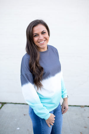 Gray & Mint Ombre Dip Dyed Pullover