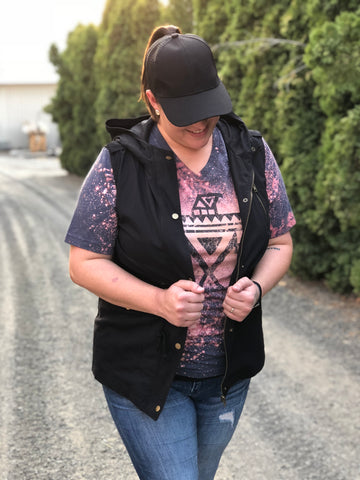 Black Utility Cargo Vest With Hood